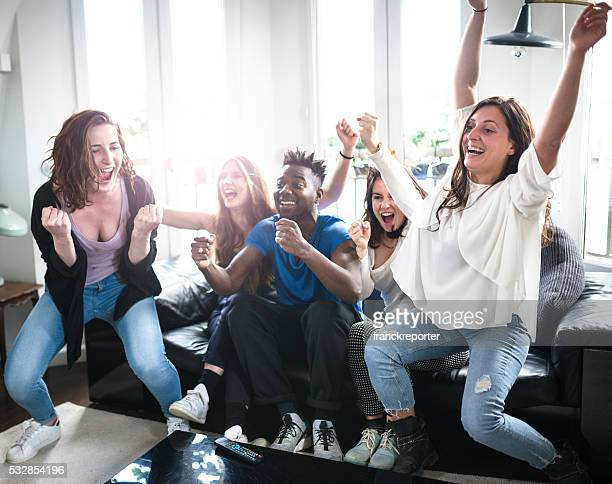 Group of college student happiness on the sofa
