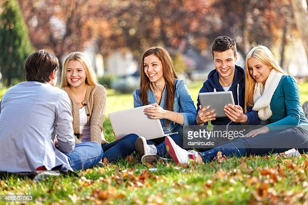 Group of college students studying in school lawn