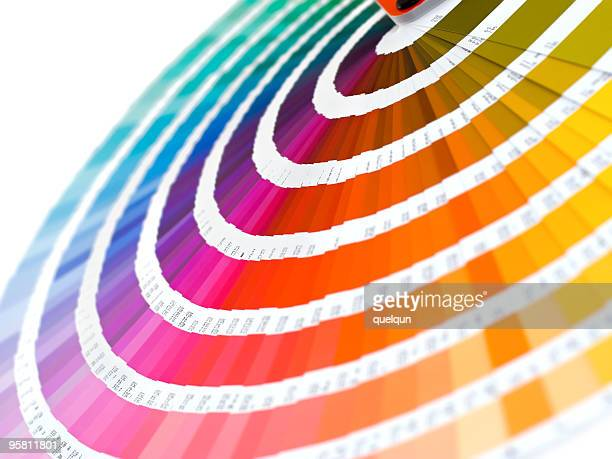 Group of color card spread out into rainbow