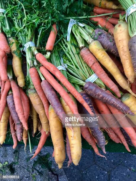 Group of colored carrots from food market