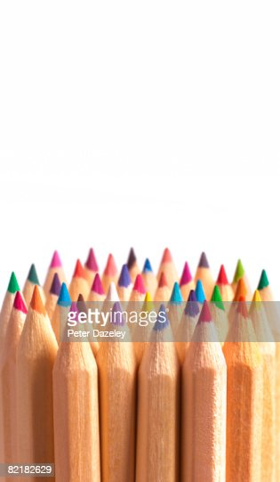 A group of coloring pencils
