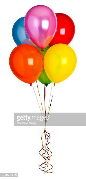 Group of coloured hellium party balloons