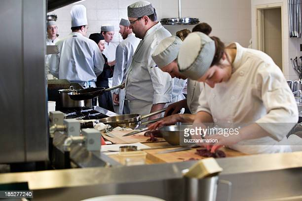 Group of cooks working in a industrial kitchen