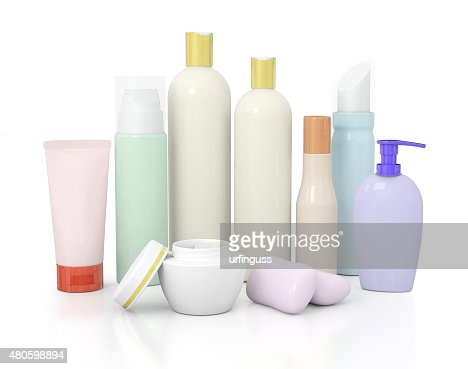 Group of cosmetic bottles : Stock Photo