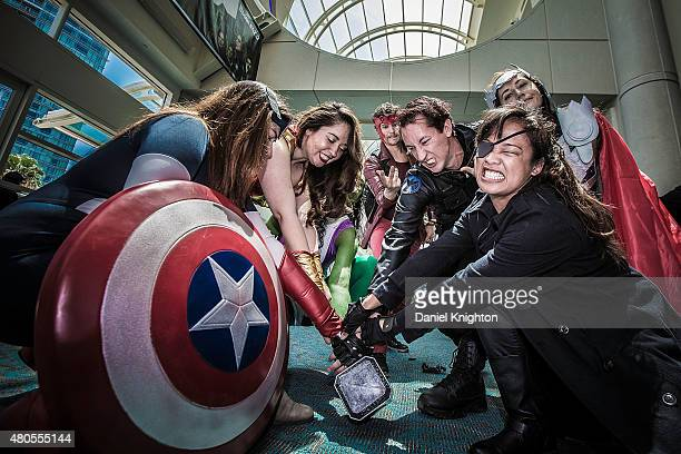 A group of costumed fans attend ComicCon International at San Diego Convention Center on July 12 2015 in San Diego California