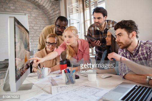 Group of coworkers working together
