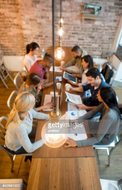 Group of creative people brainstorming at the office