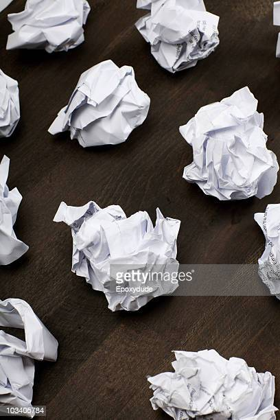 A group of crumpled paper balls