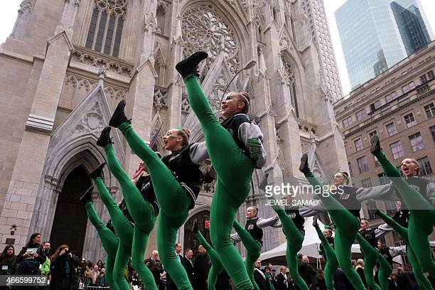 A group of dancers march during the St Patrick's Day parade in New York on March 17 2015 AFP PHOTO/JEWEL SAMAD