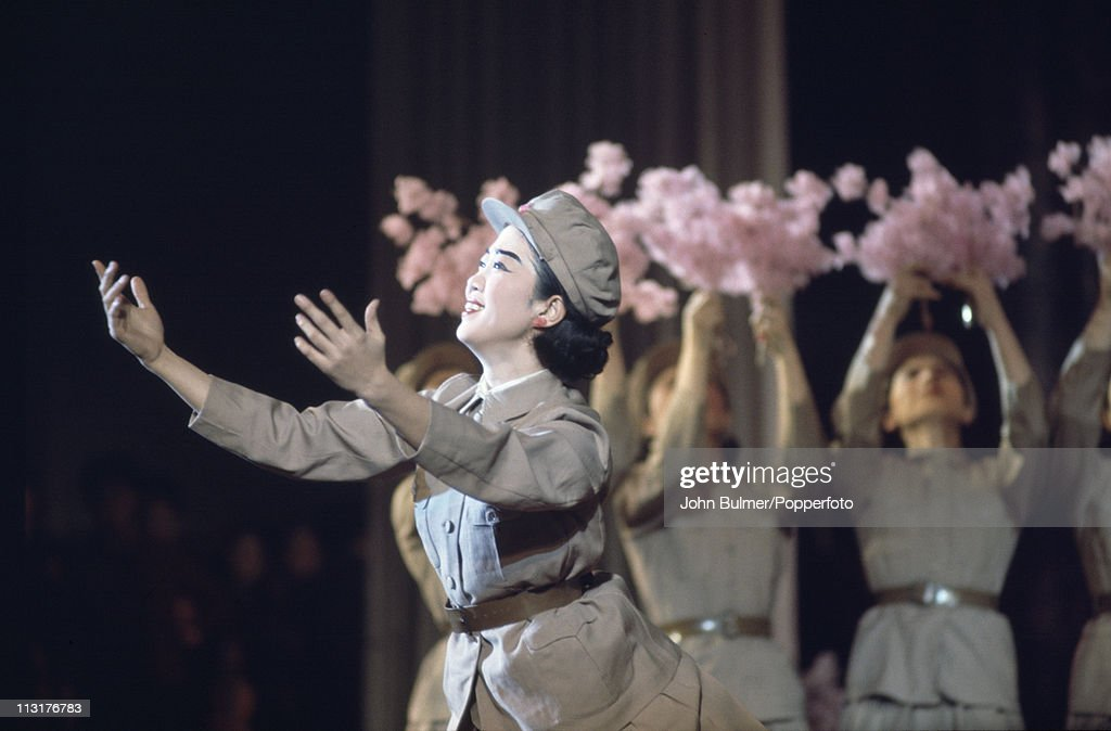 A group of dancers performing in uniform, North Korea, February 1973.