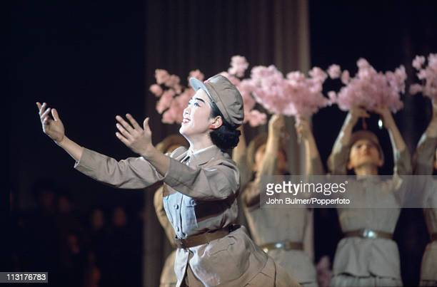 A group of dancers performing in uniform North Korea February 1973