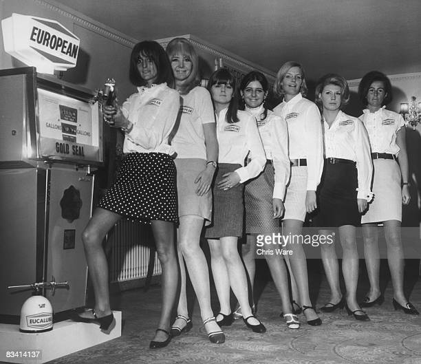 A group of debutantes at the Dorchester Hotel London where they are training to take part in the launch of a new petrol brand from European Petroleum...