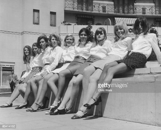 A group of debutantes outside the Dorchester Hotel London where they are training to take part in the launch of a new petrol brand from European...