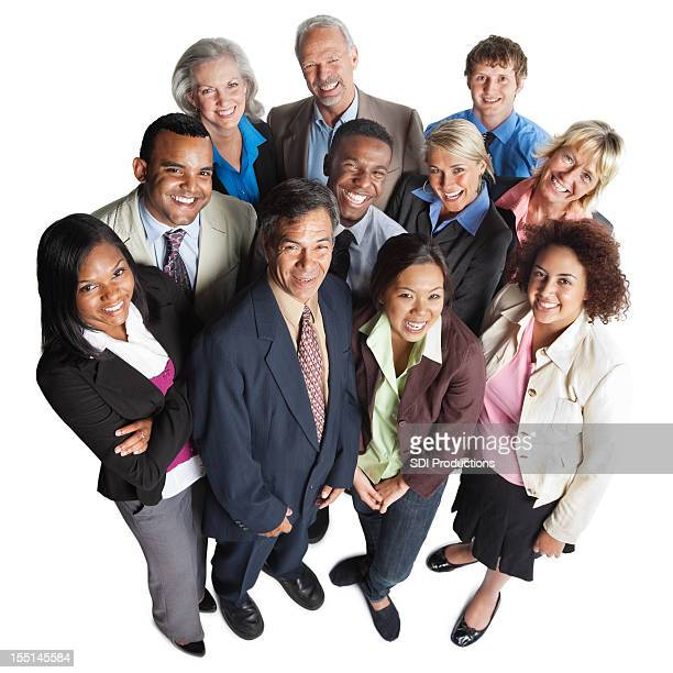 Group of diverse business people looking up