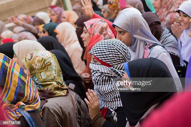 A group of Egyptian students stage an anticoup demonstration at Cairo University in Giza Egypt on February 22 2015