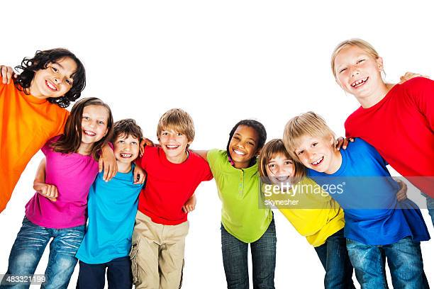 Group of embraced kids in colorful t-shirts.