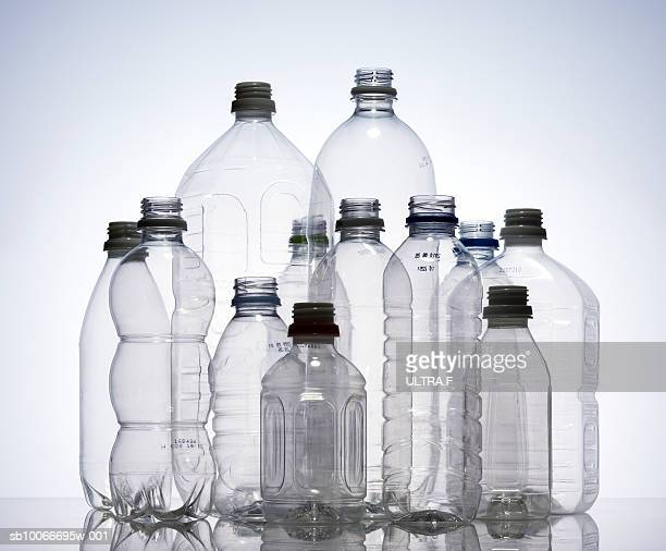 Group of empty plastic bottles, studio shot