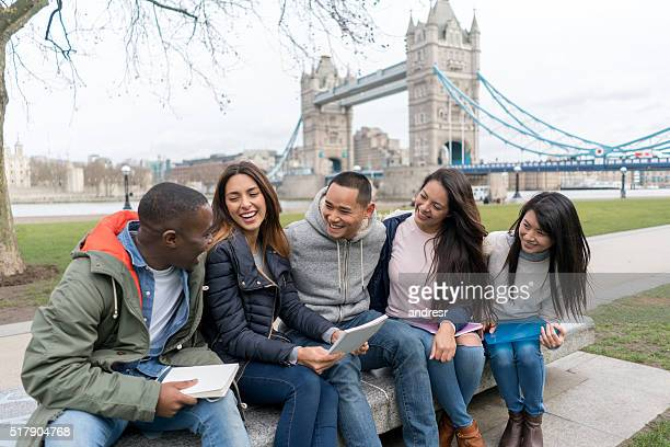 Group of English students in London
