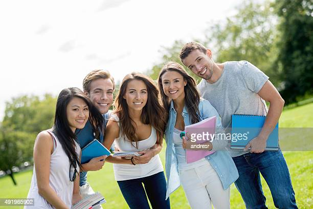 Group of exchange students at the park
