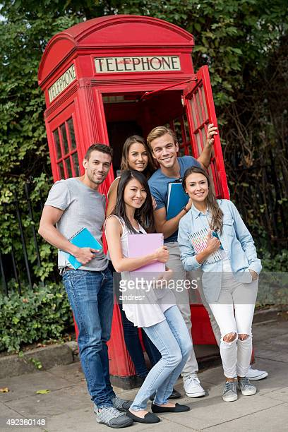 Group of exchange students in London