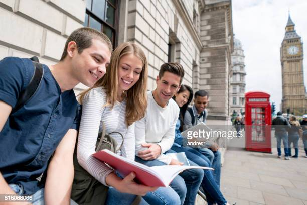 Group of exchange students sightseeing in London