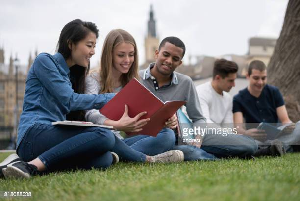 Group of exchange students studying outdoors
