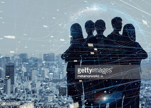 Group of experts. Silhouette of five business persons. : Stock Photo