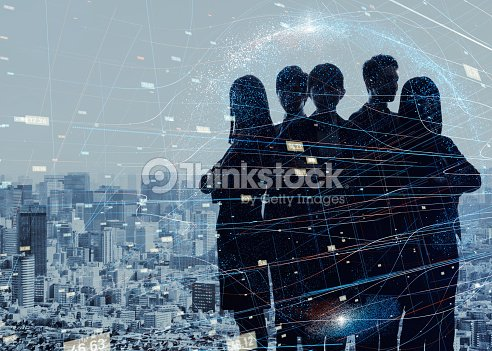 Group of experts. Silhouette of five business persons. : Foto stock