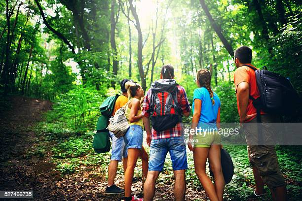 Group of explorers in forest.