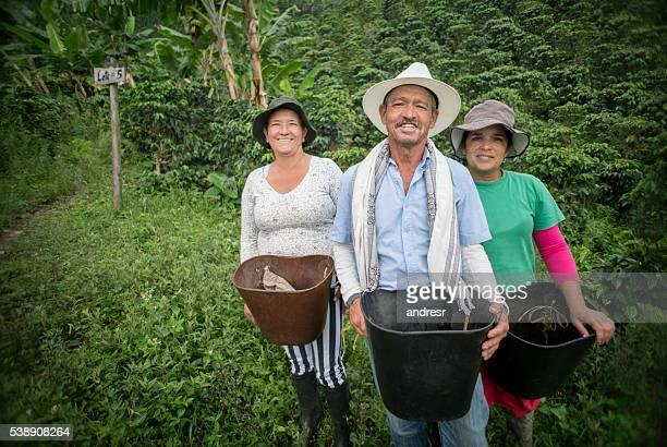 Group of farmers collecting coffee beans