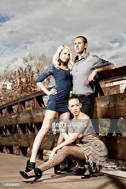 Group of fashion models outdoors