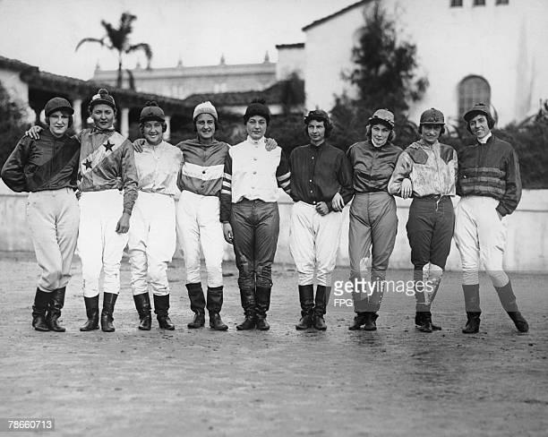 A group of female jockeys at the Agua Caliente Racetrack near Tijuana Baja California Mexico to compete in the Coronado Town Plate race circa 1930...