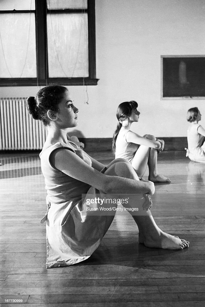 A group of female students at Barnard College participate in a posture contest New York New York January 1955