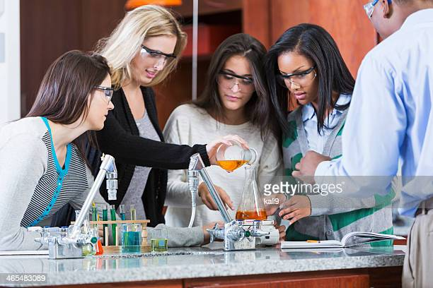 Group of female students in chemistry class