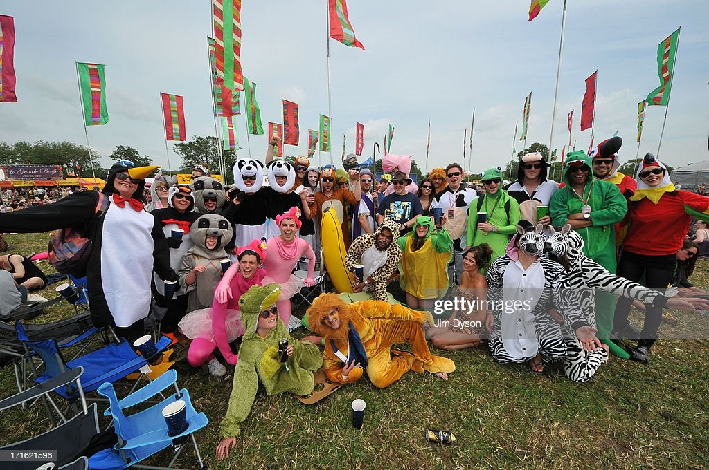 A group of festival-goers in Noah's Ark fancy dress pose during day 1 of the 2013 Glastonbury Festival at Worthy Farm on June 27, 2013 in Glastonbury, England.