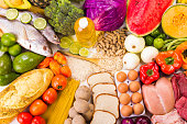 Group of healthy food, the shoot includes protein, carbohydrates, good fats, fruits and vegetables.