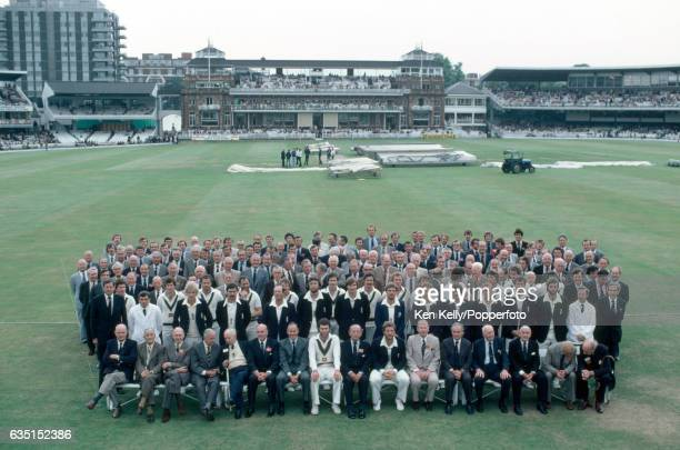 Group of former and current players and officials from England and Australia during the Centenary Test at Lord's Cricket Ground London 29th August...