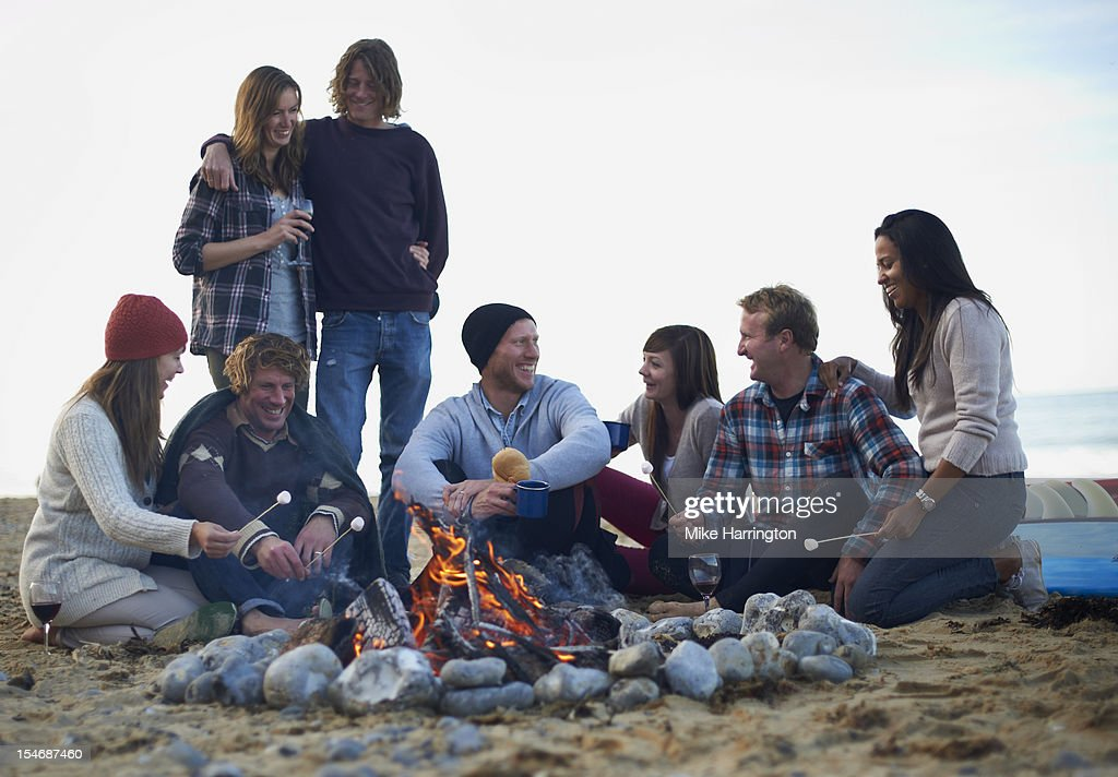Group of friends at beach party : Stock Photo