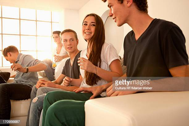 Group of friends at house party