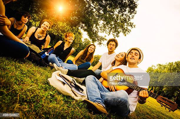 Group of friends at the park together