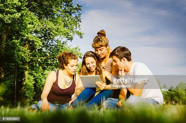 Group of friends at the park together Using a Tablet