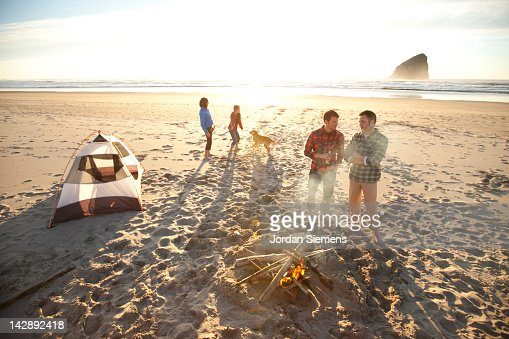 Group of friends camping. : Stock Photo