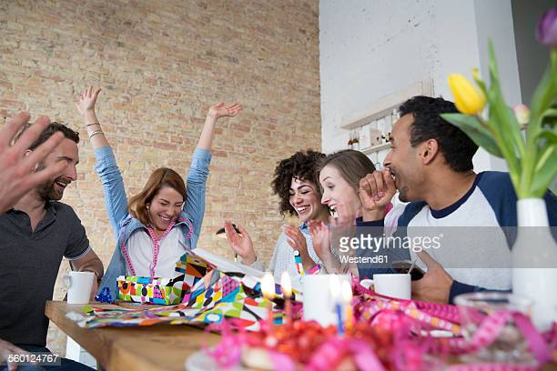 Group of friends celebrating birthday