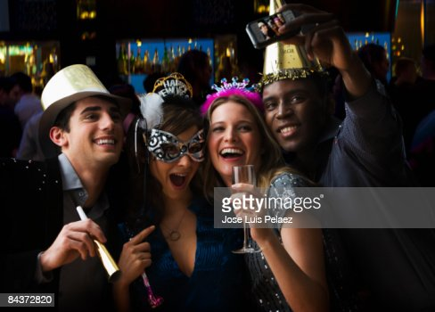 Group of friends celebrating new year  : Stock Photo
