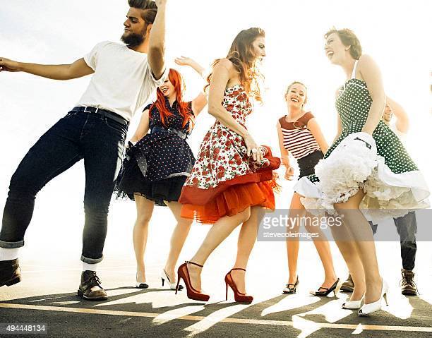 Group of friends dancing.