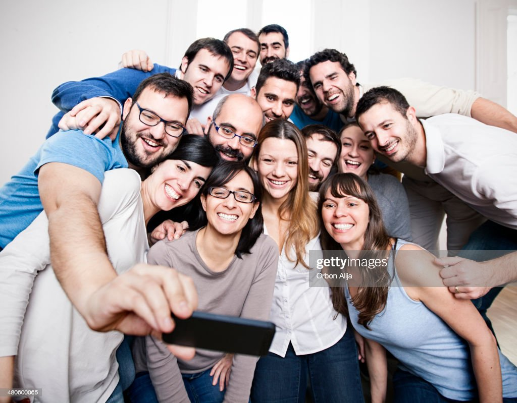 Group of friends doing a selfie : Stock Photo