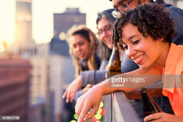 Group of friends drinking beer together