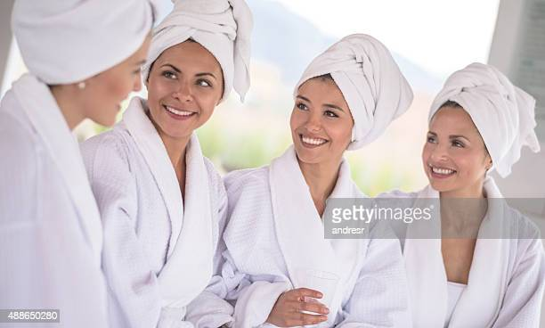 Group of friends enjoying a day at the spa