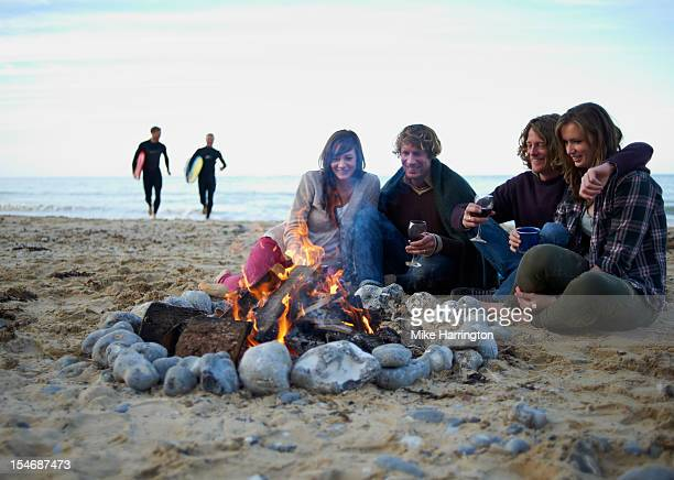 Group of friends enjoying beach party.