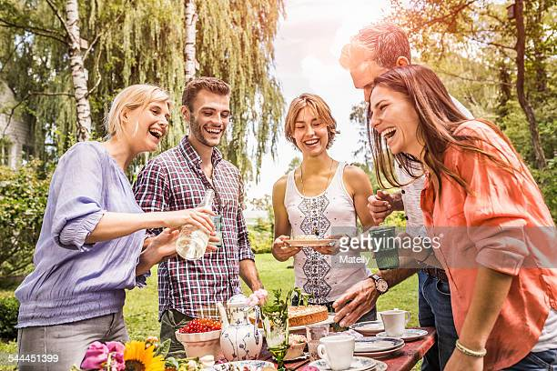 Group of friends enjoying garden party